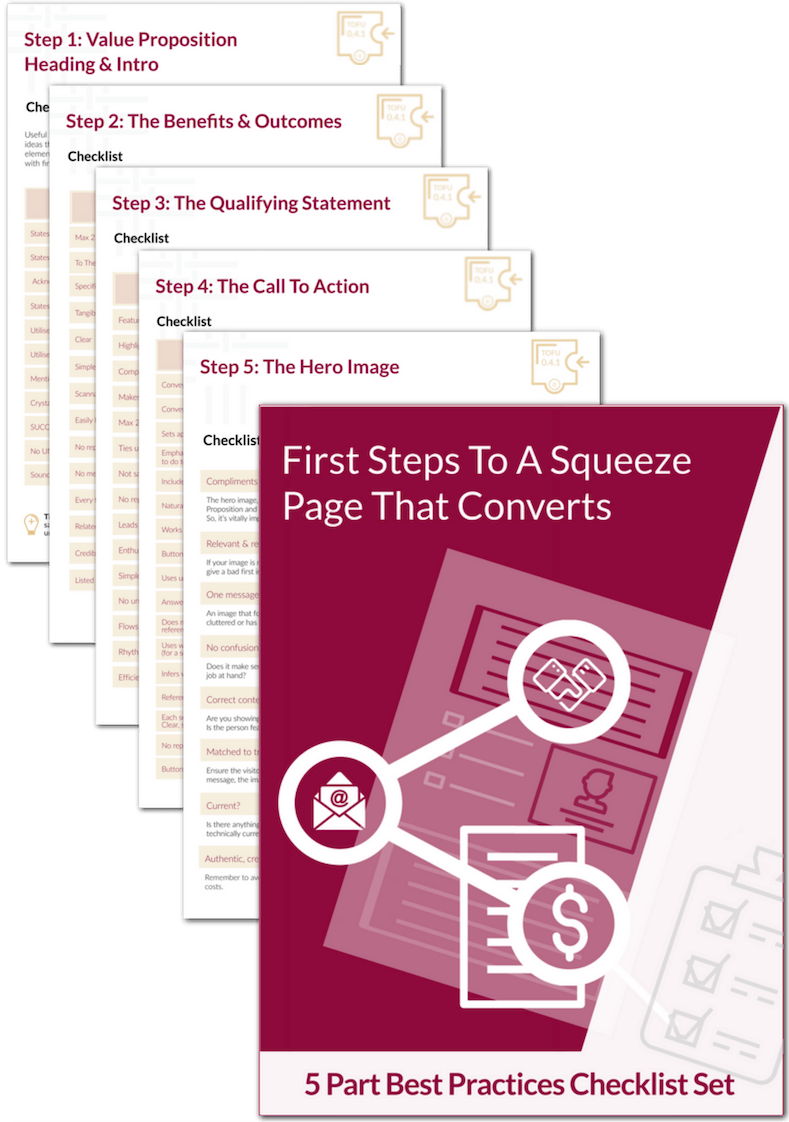 First Steps To A Squeeze Page That Converts. 5-Part Best Practices Checklist Set (Product Image)