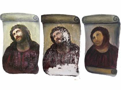 Jesus painting amateur restoration failure. Before & after.